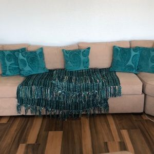 Pier One Teal Pillows and Two throws Pier 1